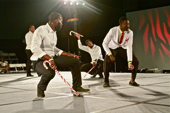 Members of the Kappa Alpha Psi Fraternity during their winning step routine.