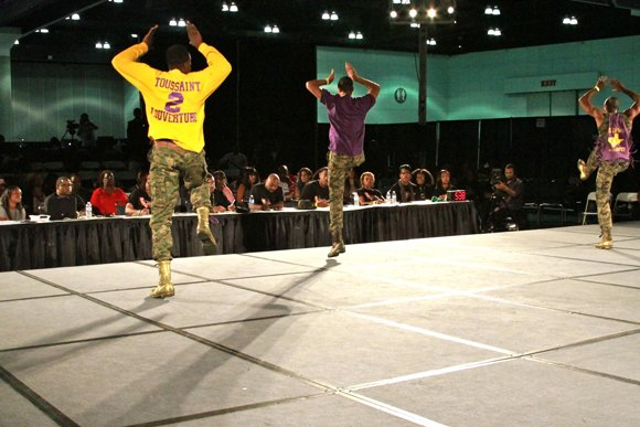 Members of Omega Psi Psi Fraternity Inc. during their step routine.
