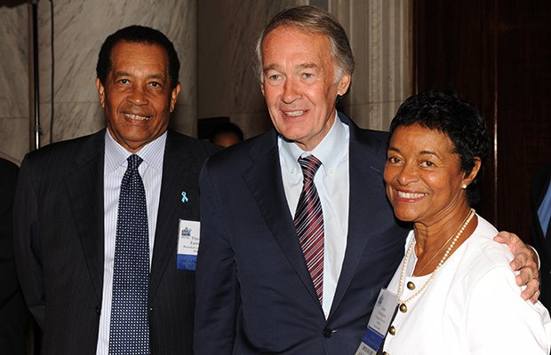 (L to R) Thomas A. Farrington, PHEN President and Founder, Senator Edward J. Markey (D-MA), Juarez Farrington, at the Kennedy Caucus Room on Capitol Hill, for the Ninth Annual African American Prostate Cancer Disparity Summit, in Washington D.C.
