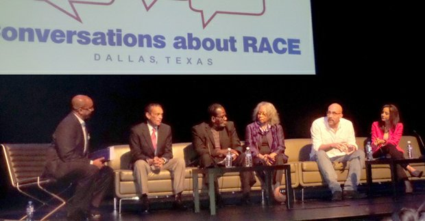 Moderator Skot Welch, and invited panelists Bob Ray Sanders, Gerald Britt, Mollie Finch Belt, Robert Wilonsky and Crystal Ayala discuss race in Dallas from the media perspective during the Conversations about Race discussion on Sept. 21.