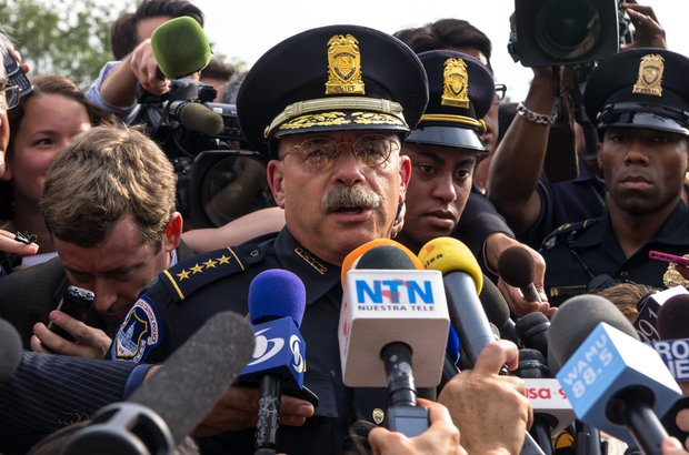 U.S. Capitol Police Chief Kim Dine briefs the press on Thursday after a woman was shot to death following a high-speed chase on Capitol Hill.