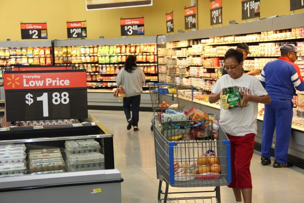 Janice Warner shops at the new Stonecrest Super Walmart minutes after the ribbon-cutting ceremony on Oct. 2