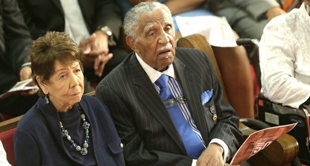 Former Southern Christian Leadership Conference President Dr. Joseph Lowery and his wife Evelyn attend a memorial service at the 16th Street Baptist Church in Birmingham, Ala., Sept. 15. The church held a ceremony honoring the memory of the four young girls who were killed by a bomb placed outside the church 50 years ago by members of the Ku Klux Klan.