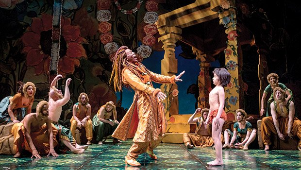 "André de Shields (King Louie) and Akash Chopra (Mowgli) in Tony Award winner Mary Zimmerman's new musical adaption of ""The Jungle Book."" (Liz Lauren photo)"