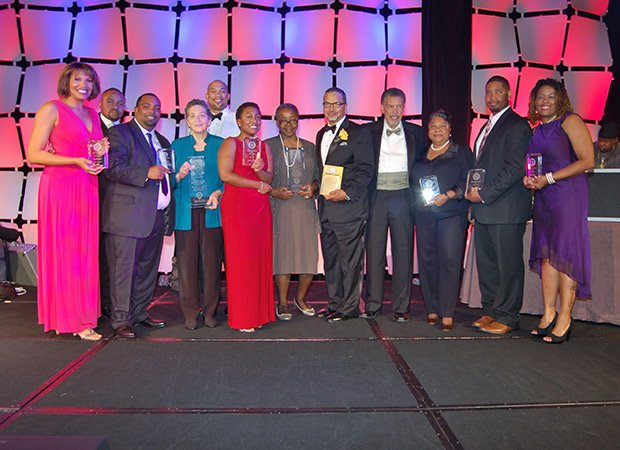 On Sept. 28, the Boston Branch of the NAACP presented awards to local and national community leaders during their Annual Freedom Fund Dinner. Left to right: Latoyia Edwards, Dr. John Jackson, Marvin Bing, Sarah Wunsch, Sean Daughtry, Ebony Reed, Sarah Flint, Dr. Roger Harris, Robert Hayden, Barbara Fields, Eric Esteves, and Bernadette Reid.