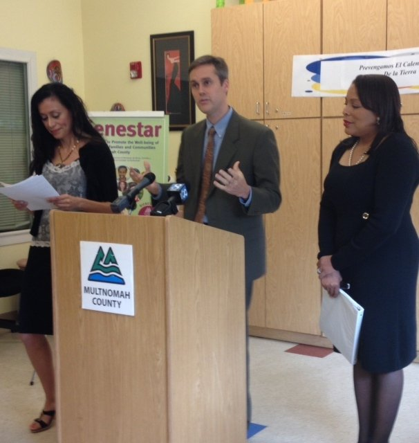 Commissioner Loretta Smith (right),  Health Officer Dr. Justin Denny (middle), and Kari Lyons-Eubanks , all hosted a press conference on Wednesday, Oct. 9 revealing new findings about the air quality in Multnomah County.