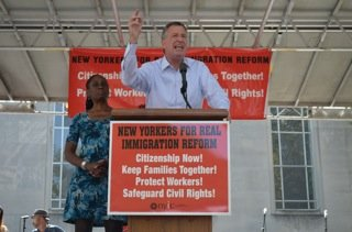 Bill de Blasio speaking at the Oct 5. National Day of Dignity and Respect in New York City
