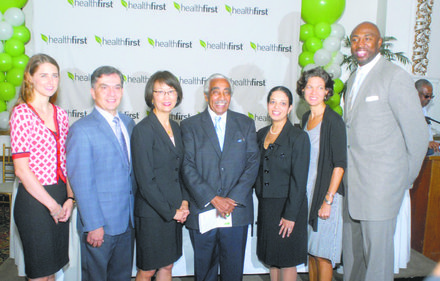 L to R: Rebecca Jackson; Dr. Jamie Torres; Patricia Wang CEO of Healthfirst; Rep. Charles Rangel; Lorraine Gonzalez-Camastra; Elisabeth Benjamin; and Vin Baker, former NBA player and youth minister at Abyssinian Baptist Church