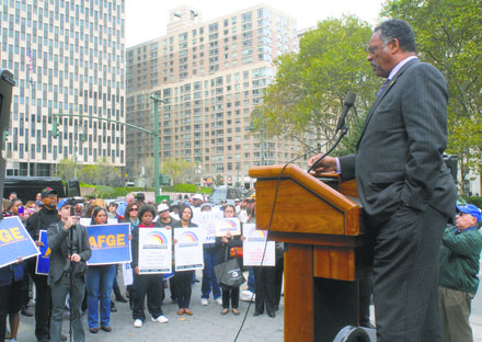 Rev. Jackson and Union Protest Government Shutdown