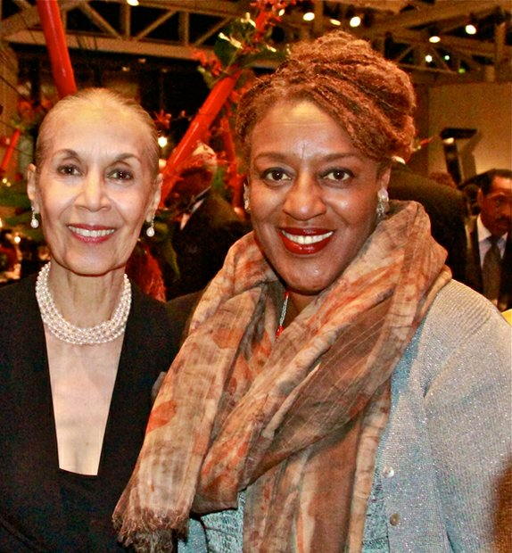 CAAM Lifetime Achievement Award recipient, Carmen De Lavallade, poses with acclaimed actress and Emmy nominee, CCH Pounder, mistress of ceremonies at the CAAM annual gala.