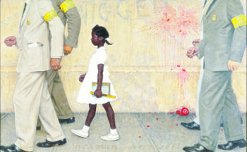 "Popular American artist Norman Rockwell painted this 1963 image of Ruby Bridges, the six-year-old who integrated a New Orleans public school in 1960. Bridges' story is featured in the PBS series, ""The African-Americans: Many Rivers to Cross."" (Courtesy photo)"