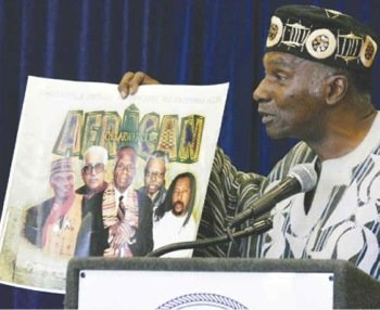 """During the first Ronald W. Walters Legacy Conference at Howard University's Blackburn Center in Northwest on Oct. 10, Dr. Leonard Jeffries presented a poster that he titled """"Scholar Warriors."""""""