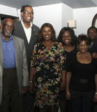 State Sen. Eric Adams, Councilman Al Vann, District Leader Robert Cornegy Jr., Councilwoman Letisha James, District Leader Rodneyse Bichotte, Councilwoman Inez Dickson and Walter Mosley