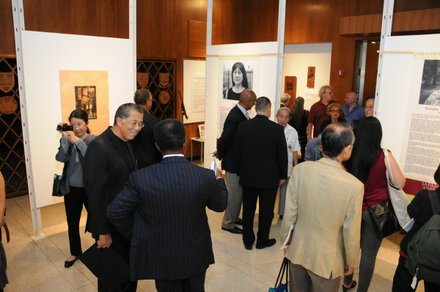 Guests viewing exhibitions in Treasure Room Gallery