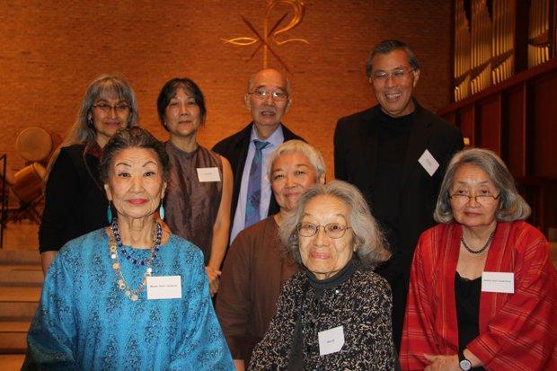 L to R(front now): Honorees Koho Yamamoto, Teddy Yoshikami, Natsu Ifill, Suki Terada Ports, (back row) Dorothy Imagire, Tomie Arai and Tadashi Tsufura with Gary Okihiro