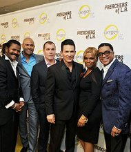 From left, Deitrick Haddon, Ron Gibson, Wayne Chaney, Rod Aissa (Senior VP, Original Programming and Development, Oxygen), Jay Haizlip, Holly Carter, Clarence McClendon and Noel Jones.