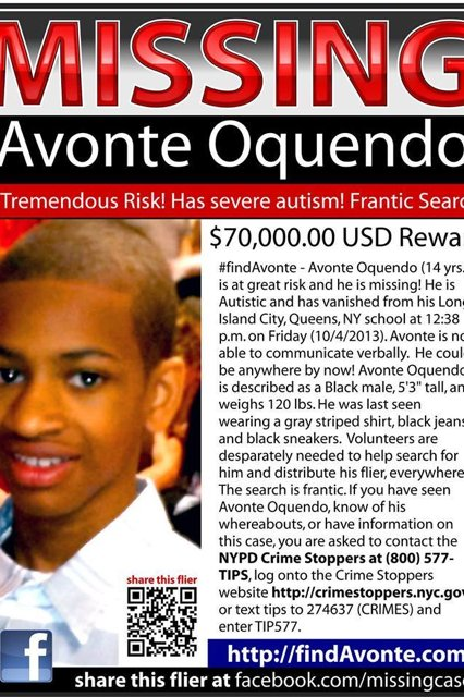 NYPD flyer for Avonte Oquendo