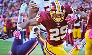 Washington Redskins running back Roy Helu Jr. rushed for three touchdowns in Washington's 45-41 victory against the Chicago Bears at FedEx Field on Sunday. (Courtesy of the Washington Redskins)