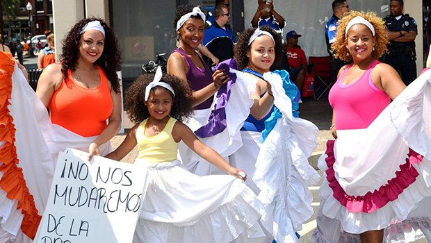 Inquilinos Boricuas en Accion, a nonprofit organization started in 1968 that is dedicated to increasing the social and economic power of the Latino community through education, technology, economic development, and arts programming, has been putting on public bomba performances, such as the one pictured above, for many years.