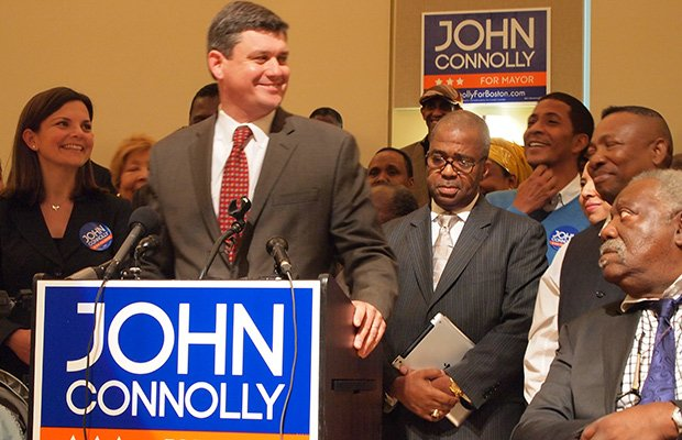 City Councilor John Connolly speaks during a rally at Hibernian Hall in Roxbury. (left-right) Meg Connolly, John Borders, Thomas Cross
