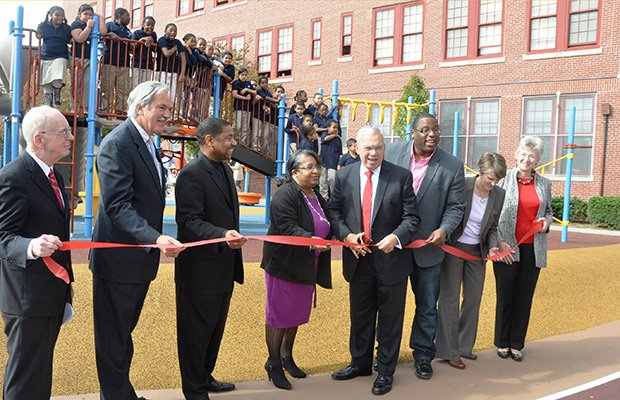 Earlier this month, Mayor Thomas Menino helped the Higgison Lewis School in Roxbury celebrate its new playground with a ribbon cutting.