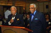 Former Mayor David Dinkins and Rep. Charles Rangel at the podium