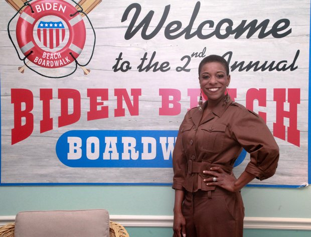 Sheila Stewart, Radio One news and public affairs director at Vice President Biden's house for a Black HIstory program.