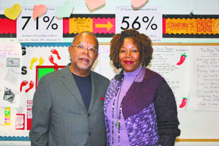 "Henry Louis Gates Jr. and Ruby Bridges at the Harriet Tubman Charter School in New Orleans during the filming of ""The African Americans: Many Rivers to Cross with Henry Louis Gates Jr."""