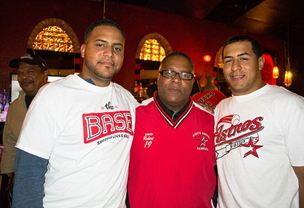 Robert Lewis Jr., proudly stands between 2 former Astros players that have gone on to play professional baseball: Juan Carlos Portes, also formerly of the Minnesota Twins, and Vladimir Camacho, graduate of Franklin Pierce and member of Traverse City Beach Bums of the Frontier League.