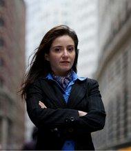 Carmen Segarra outside the Federal Reserve Bank of New York on Oct. 10, 2013.
