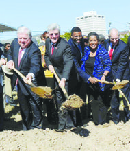 From left: Entergy Mississippi president Haley Fisackerly, former Mississippi Gov. Haley Barbour, Gov. Phil Bryant, state NAACP president Derrick Johnson, former NAACP chair Myrlie Evers, former Gov. William Winter and former state Supreme Court Justice Reuben Anderson were among more than fifty people who broke ground on the Museum of Mississippi History and Mississippi Civil Rights Museum in downtown Jackson on Oct. 24. (Mississippi Department of Archives and History)