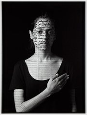 """Roja,"" by Shirin Neshat, is a gelatin silver print with India ink. Copyright Shirin Neshat Charles Bain Hoyt Fund and Francis Welch Fund."