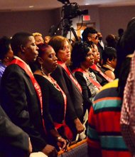 Sheila Stewart's classmates from Great Falls (S.C.) High School's Class of 1987 attend Stewart's funeral service at University Park Baptist Church in Charlotte, N.C., on Oct. 30. Stewart, a longtime radio personality in D.C., was killed Oct. 24 in an automobile accident in Atlanta. (Paul Williams/Paul-3 Photography)