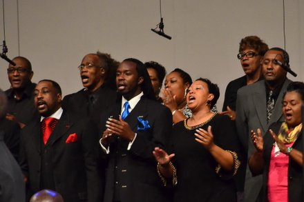 The Great Falls Community Choir performs at the funeral service for Sheila Stewart at University Park Baptist Church in Charlotte, N.C., on Oct. 30. Stewart, a longtime radio personality in D.C., was killed Oct. 24 in an automobile accident in Atlanta. (Paul Williams/Paul-3 Photography)