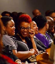 Tears turned into smiles as friends shared memories at the funeral service for Sheila Stewart at University Park Baptist Church in Charlotte, N.C., on Oct. 30. Stewart, a longtime radio personality in D.C., was killed Oct. 24 in an automobile accident in Atlanta. (Paul Williams/Paul-3 Photography)