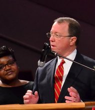 Christopher Wegmann, president of the Radio Division of Radio One, speaks at the funeral service for Sheila Stewart at University Park Baptist Church in Charlotte, N.C., on Oct. 30. Stewart, a longtime radio personality in D.C., was killed Oct. 24 in an automobile accident in Atlanta. (Paul Williams/Paul-3 Photography)