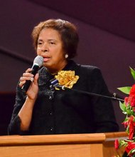E. Faye Williams, president of the National Congress of BlackWomen and Sheila Stewart's godmother, speaks at the funeral service for Stewart at University Park Baptist Church in Charlotte, N.C., on Oct. 30. Stewart, a longtime radio personality in D.C., was killed Oct. 24 in an automobile accident in Atlanta. (Paul Williams/Paul-3 Photography)