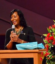 "Tanya Rivens, host of ""Sunday Morning Inspiration"" on WPEG-FM and morning traffic reporter on WBTV in Charlotte, N.C., speaks at the funeral service for Sheila Stewart at University Park Baptist Church in Charlotte on Oct. 30. Stewart, a longtime radio personality in D.C., was killed Oct. 24 in an automobile accident in Atlanta. (Paul Williams/Paul-3 Photography)"