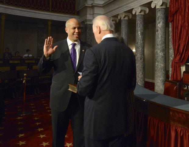 Senator Cory Booker is sworn in by Vice President Joe Biden at the U.S. Capitol on Thursday, Oct. 31.