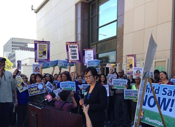 Dozens of county social workers protested in downtown today to demand smaller caseloads, and their union, SEIU Local 721, filed a lawsuit aimed at forcing the county's hand.