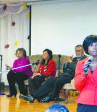 Karen Dale, executive director of AmeriHealth, answered questions from audience members during the Wellness for Life 21-Day Journey for Better Health on Saturday, Nov. 2 in Southeast. AmeriHealth Caritas Partnership launched the challenge at Matthews Memorial Baptist Church.