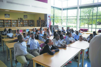 Students who attend Ernest E. Just Middle School in Mitchellville, Md., participated in a web-based Google hangout with Philippe Cousteau, the grandson of legendary underwater explorer Jacques Cousteau. (Courtesy of Prince George's County Public Schools)