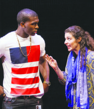 """Khris Davis plays Duke and Melis Aker plays Roya in """"Love in Afghanistan"""" at Arena Stage at the Mead Center for American Theater in Southwest. The show runs through Sunday, Nov. 17. (Teresa Wood)"""
