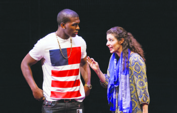 "Khris Davis plays Duke and Melis Aker plays Roya in ""Love in Afghanistan"" at Arena Stage at the Mead Center for American Theater in Southwest. The show runs through Sunday, Nov. 17. (Teresa Wood)"