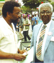 Founder and executive director of RAP, Inc., Ron Clark (left) and Dr. Calvin Rolark on 14th and V Streets in Northwest (Courtesy of RAP, Inc.)