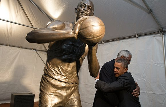 City officials, NBA stars past and present and several hundred fans showed up for the unveiling of the city's statue ...