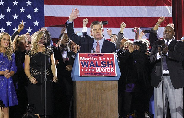 State Rep. Marty Walsh won Tuesday's mayoral election with 72,524 votes, besting City Councilor John Connolly. Walsh's supporters packed the Park Plaza Hotel for a victory party with music provided by the Irish rock band the Dropkick Murphys.