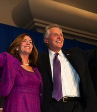 Virginia Gov.-elect Terry McAuliffe and wife, Dorothy, celebrate his victory on Election Day. (Courtesy of terrymcauliffe.com)