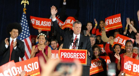 De Blasio defeated Republican nominee Joe Lhota in a landslide