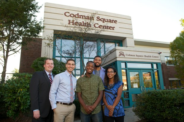 Pictured here outside the Codman Square Health Center from left to right are: Tim Galvin, Partners HealthCare; Daniel Awad, R.N. Codman Square Health Center; Avery Nicholas; Stephano Barros, Camp Harbor View Leaders-In-Training youth worker; and Maia DeBarros, Camp Harbor View Leaders-In-Training Youth Worker.